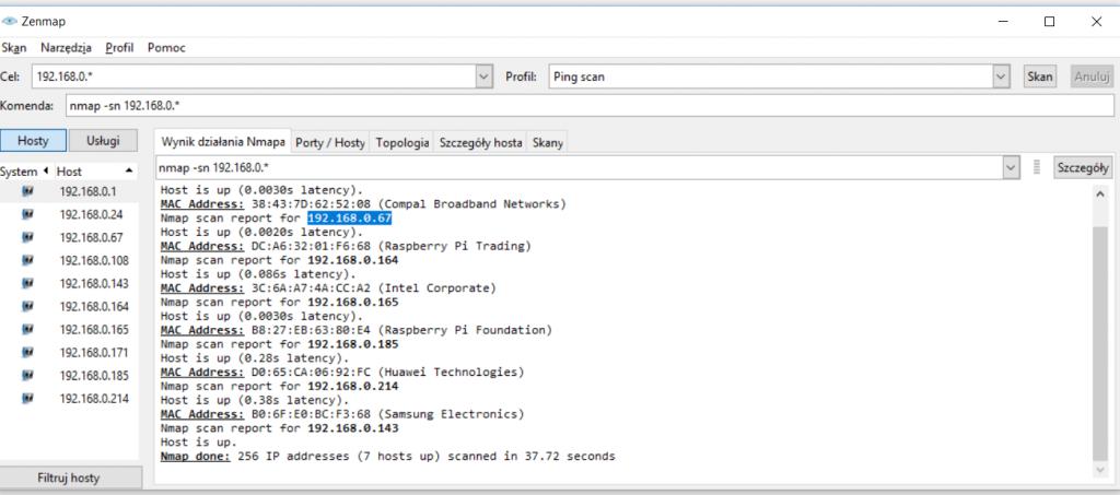 Przeszukiwanie sieci lokalnej w poszukiwaniu Raspberry Pi 4 B