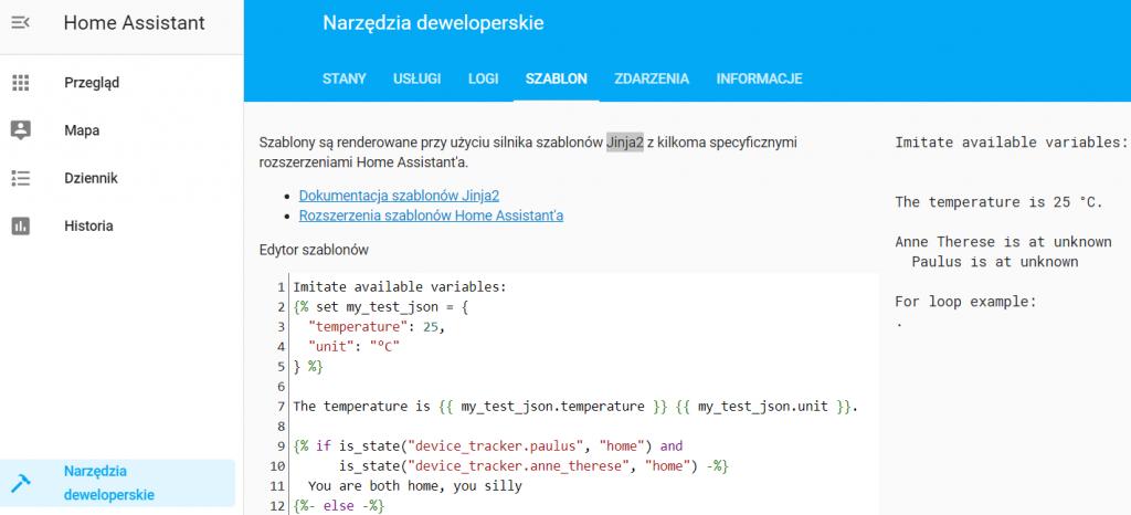Zrzut ekranu strony z Home Assistanta pozwalającej na testowanie kodu szablonów