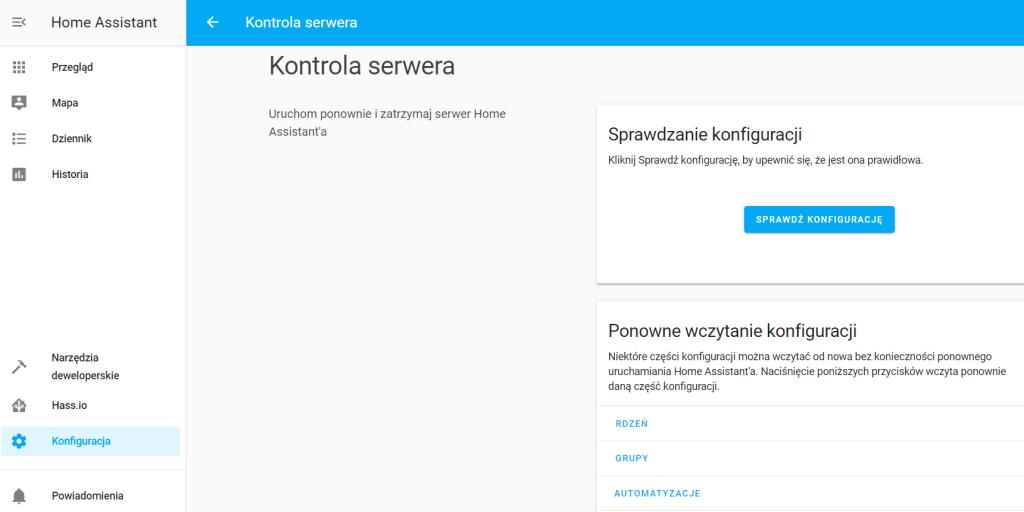 Zrzut ekranu prezentujący stronę kontroli serwera w Home Assistant