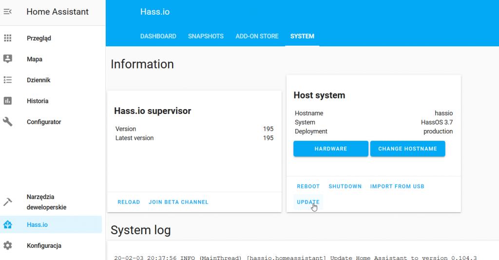 Aktualizacja systemu Hass.io